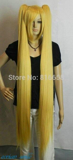 Miku Golden 120cm Extra Long Straight Cosplay Split Type Wig TLD507