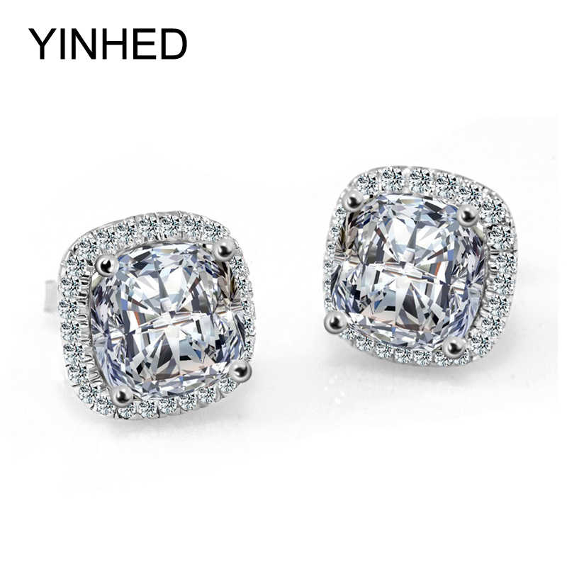 YINHED Công Chúa Cut 4 Carat CZ Diamant Bông Tai Stud Solid 925 Sterling Silver Earrings Đối Với Phụ Nữ Cưới Trang Sức ZE038