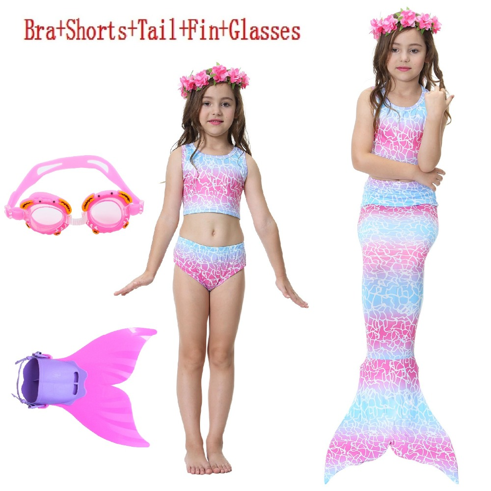 Girls Swimming Suit Mermaid Tail Costume Bikini The Little Mermaid Tail swimsuit For Swimming bathing suit Monofin Cosplay
