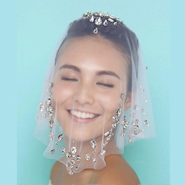 Elegant Rhinestone Birdcages Veil jilbab Wedding Veils with Crystal 2016 Bridal Headwear Wedding Accessories velos de novia H27