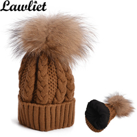 Women S Winter Hats Big Raccoon Fur Pompom Hat Double Layer Warm Cable Knitted Acrylic Fleece