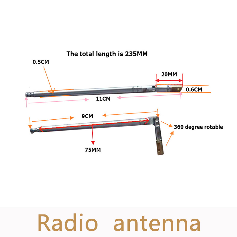 5 шт./лот MP3/fm Radios тяга Antena ремонт 360 градусов Регулируемый Комплектующие для самостоятельной сборки Аксессуары более удобной установки