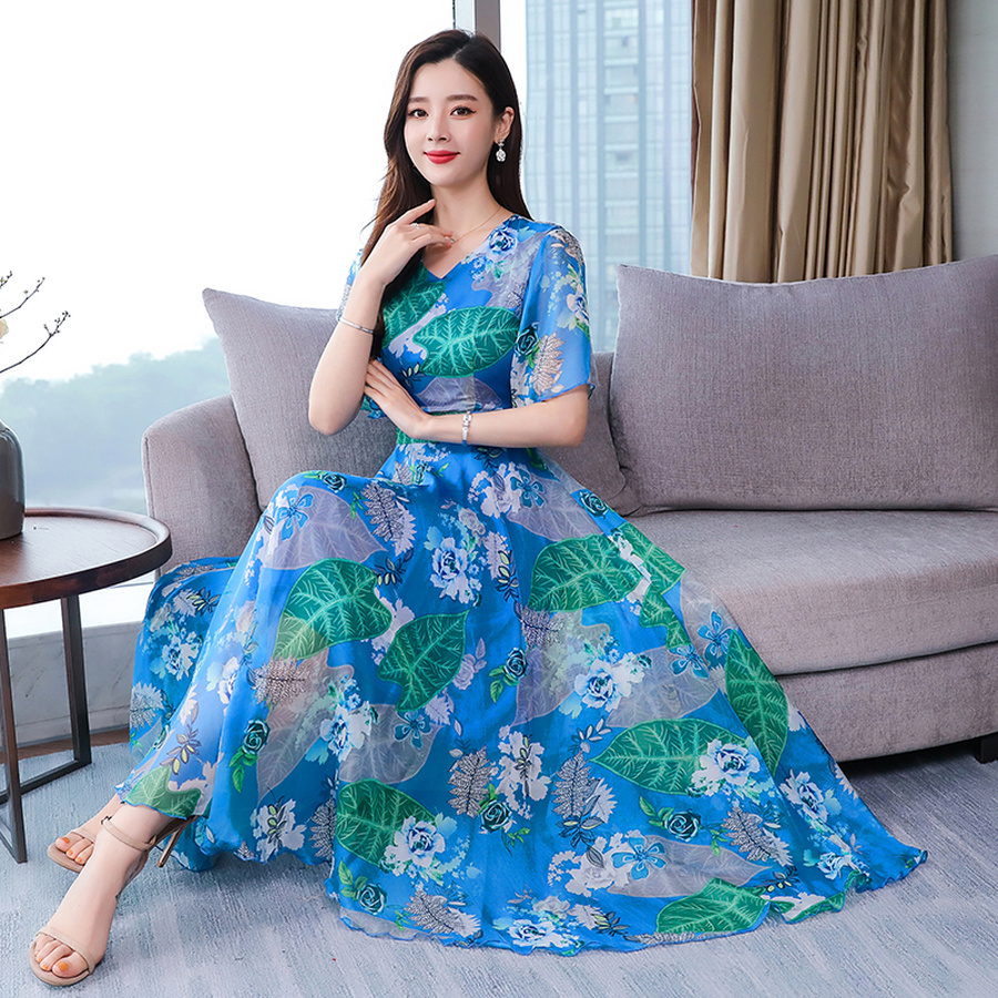 Summer New Floral Chiffon Boho Maxi Sundress 2019 Vintage 3XL Plus Size Print Beach Dresses Women Bodycon Elegant Party Vestidos in Dresses from Women 39 s Clothing