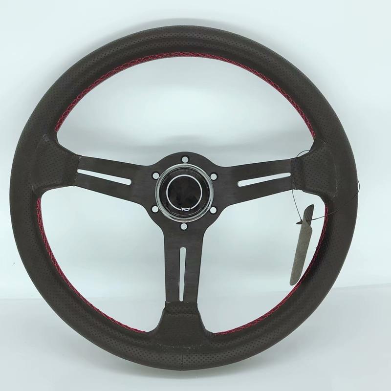 2019 hot racing steering wheel / leather general sports steering wheel black / silver цена