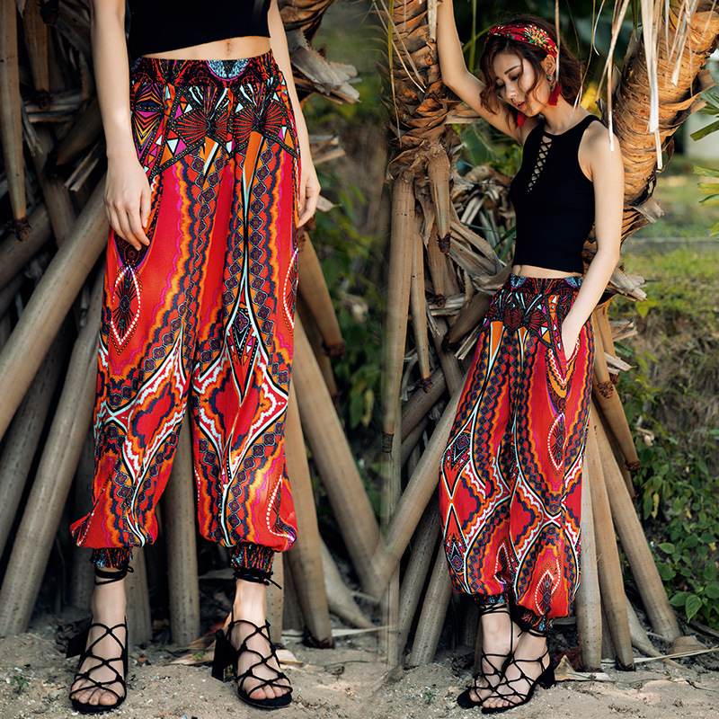 Vacation Wind Beach Capri   Pants   Women Easy Haren Lantern Trousers Plus Size Cargo Wide Leg Pleated Harem   Pants     Capris   Summer