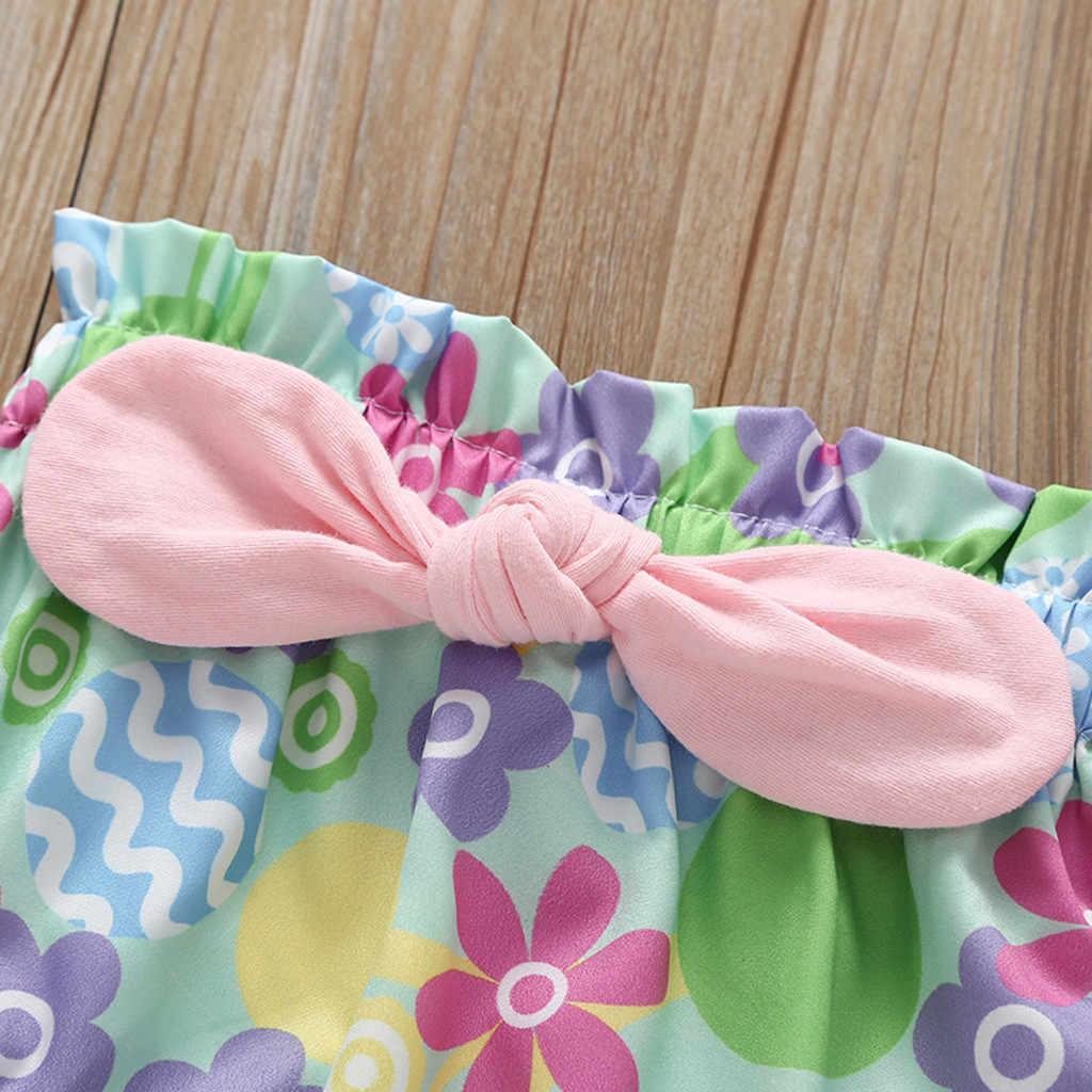 Verano bebé niña ropa de conejo de dibujos animados manga corta mono + Casual elástico Bowknot pantalones cortos flor conjunto de ropa de bebé