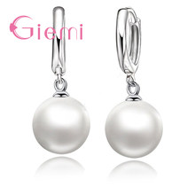 New Fashion Good Selling 925 Sterling Silver Pearl Earrings Accessories White Pearl Hoop For Women/Girls Wedding Jewelry(China)
