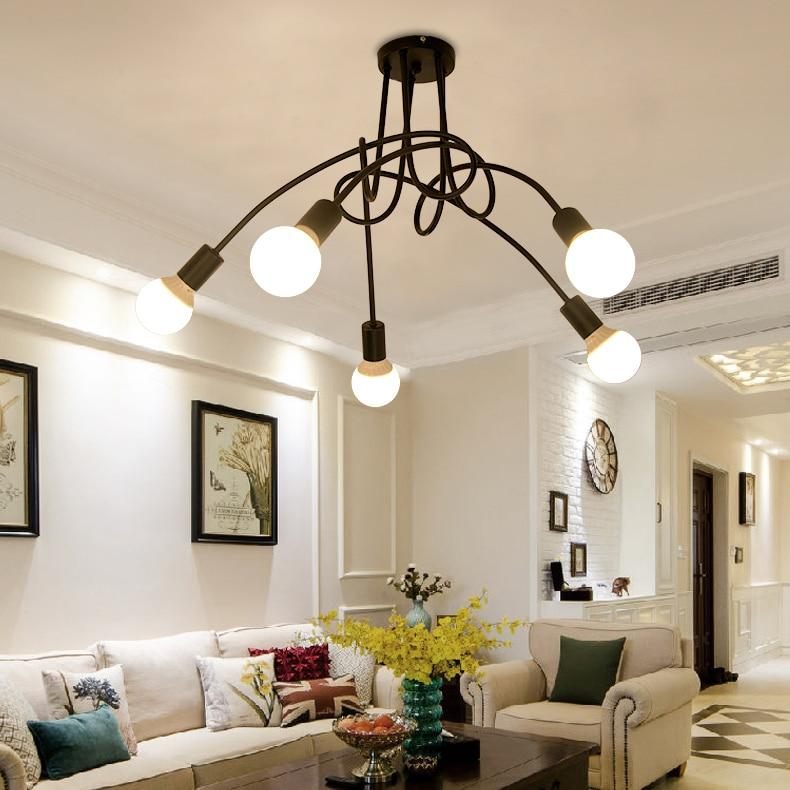 Modern Ceiling Lights Loft Spider E27 lighting Multiple ding room bedroom Lamp Creative Wrought Iron fixtures Home