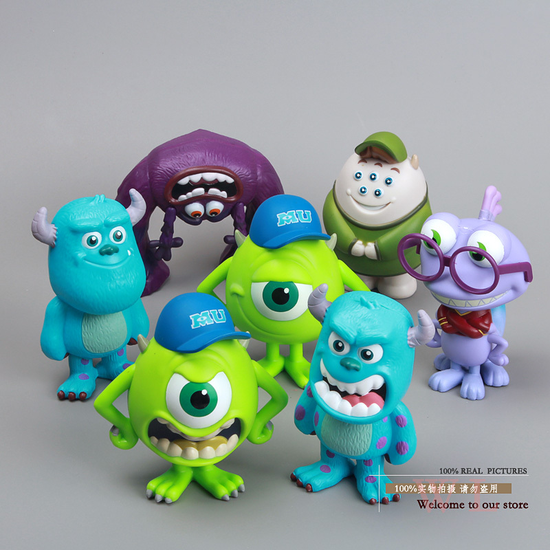 Monsters Inc. Monsters University Mike Sully Mini PVC Action Figure Model Toys Dolls with Retail Box 8cm 7pcs/set DSFG065 romping monsters stomping monsters