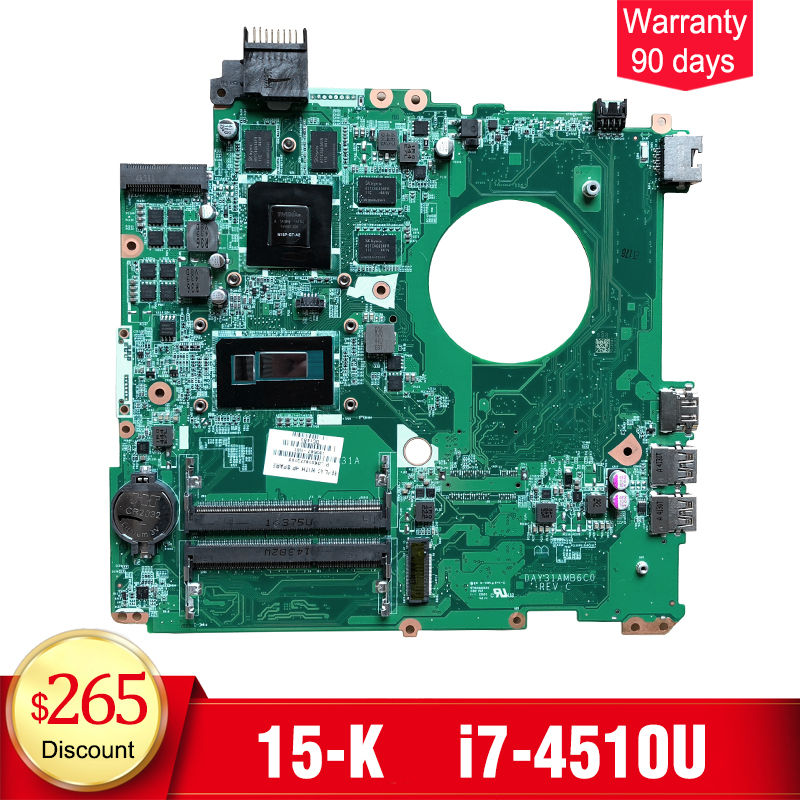 YTAI for HP Envy 15-K Series Laptop Motherboard i7-4510U DAY31AMB6C0 763587-501 mainboard fully tested