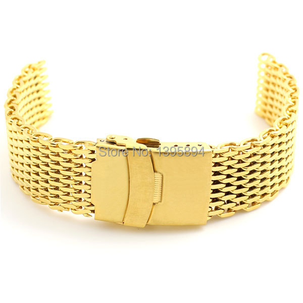 Golden 18mm Band Width Stainless Steel Mesh Web Watch Band Strap Bracelet Gold Mens Womens + 2pcs Spring Bars  green 50mm width 2m 2t flat eye to eye web lifting strap tow strap