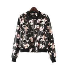 Wholesale ! Black printing street slim fit womens faux leather jackets new arrival PU short coats casual clothing female L