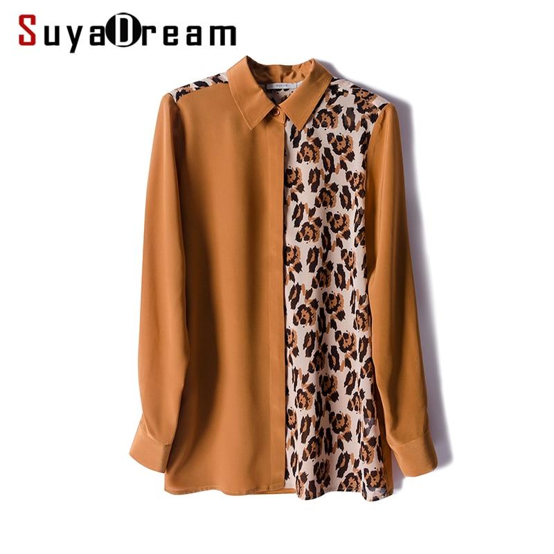 Blusa con estampado de leopardo y crepé de seda REAL de 100% para mujer, Blusa de manga larga para primavera y verano 2019, blusa para mujer