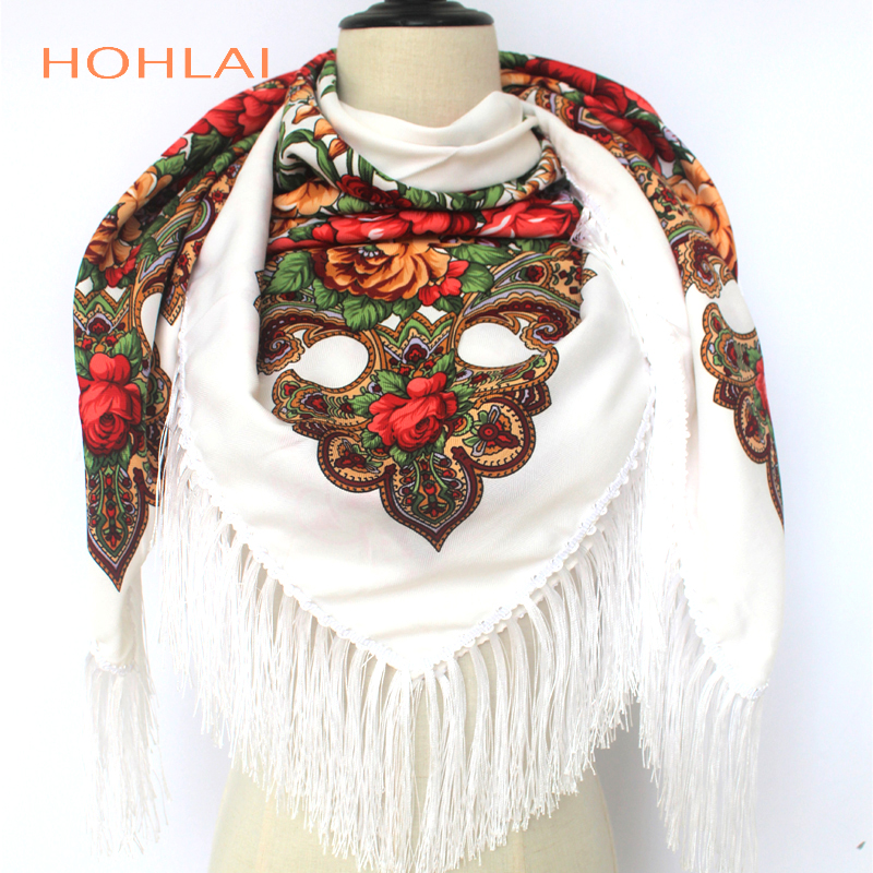 Luxury Brand Winter Russian Fringe Big Scarves Floral Printed Scarf   Shawl Gift Cotton Lady Warm Square Wrap Sunshade Scarves