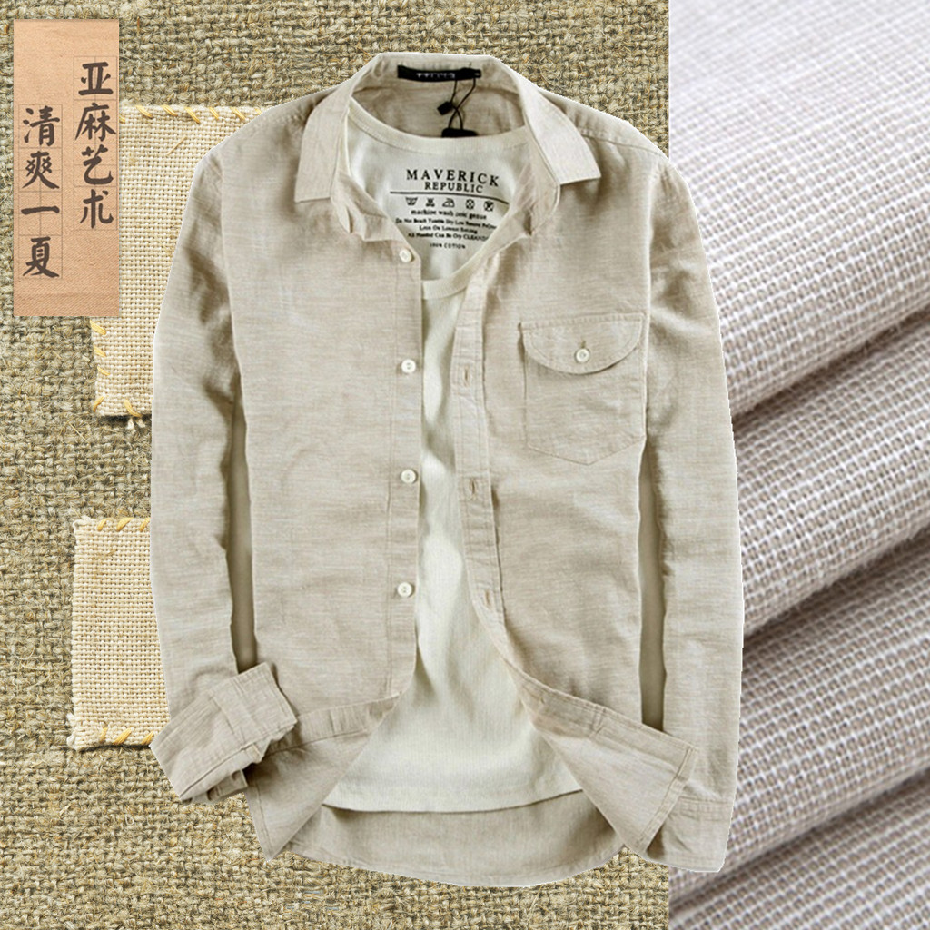 Summer casual shirt male hemp breathable long-sleeve vintage linen fluid thin slim men's clothing grogram - Fashion Shop 7 store