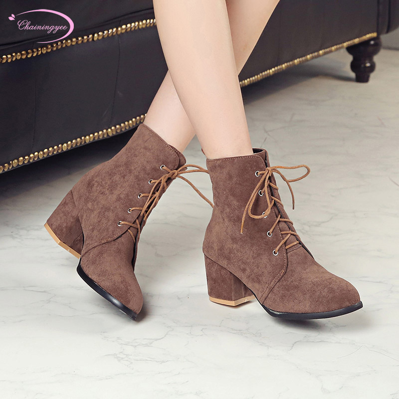 British college style round toe nubuck autumn ankle boots fashion lace-up black brown high heel riding boots womens shoesBritish college style round toe nubuck autumn ankle boots fashion lace-up black brown high heel riding boots womens shoes