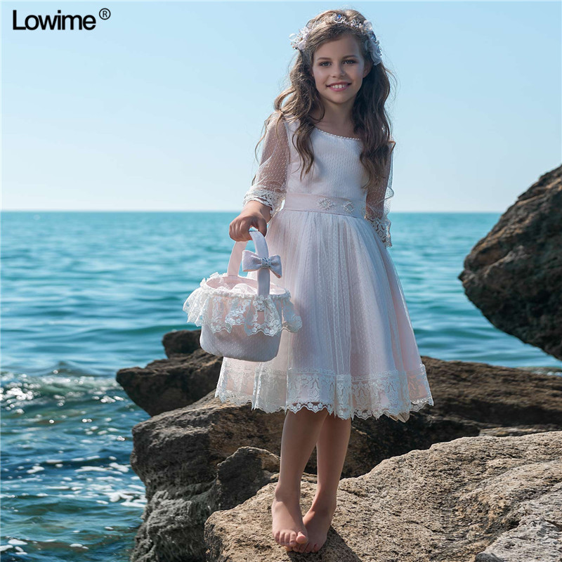 A-Line Scoop Lace   Flower     Girl     Dresses   For Weddings Knee Length Kids Prom Gowns First Communion   Dresses   With Half Sleeves