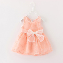 2016 Baby Girl lace Dress Summer Bow Chiffon Infant Sleeveless Dot 1 Year Birthday Clothes Months
