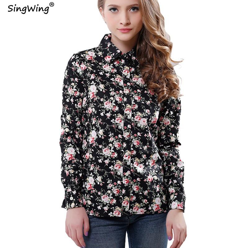 Singwing Femmes Plaid À Manches Longues Blouse Bureau Chemises Imprimé  Floral Couleur Type Mince Tops Lady Blouses Avec Boutons de9ac5df840