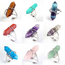 цена Kraft-beads Silver Plated Wire Wrapped Opalite Opal Hexagon Column Resizable Amethysts Rings Anniversary Jewelry онлайн в 2017 году