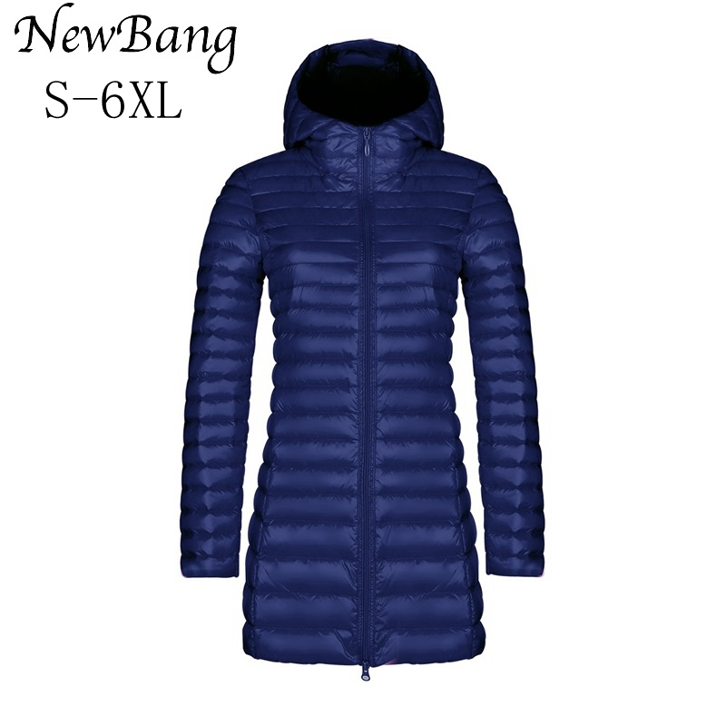 NewBang 5XL 6XL Womens Down Jackets Female Long Winter Warm Coat Women Ultra Light Down Jacket With Carry Bag Womens Overcoats