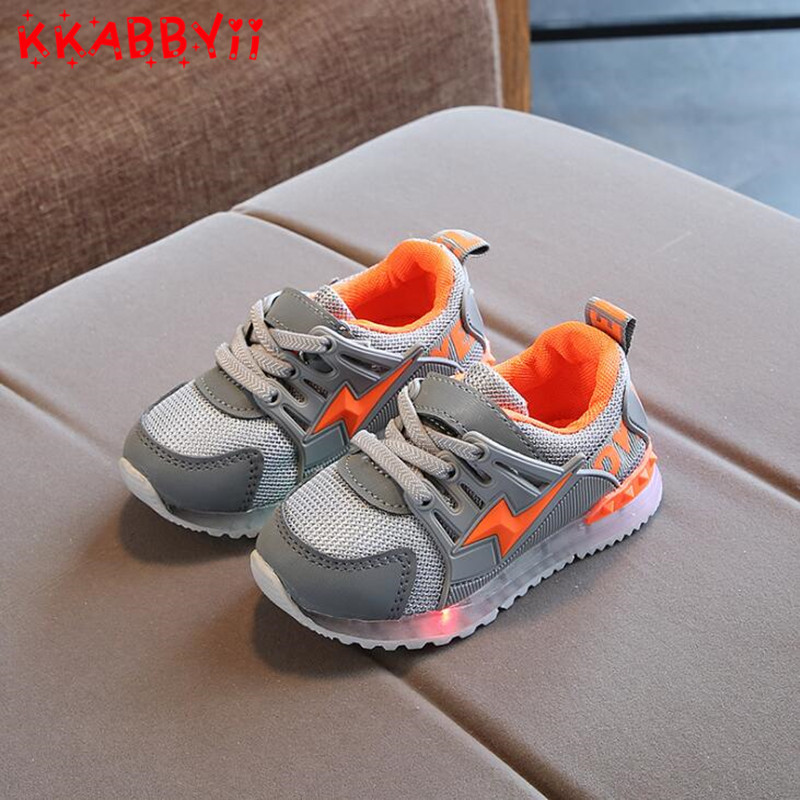 New European Girls Boys Shoes LED Lighting Shining Children Shoes Casual Cool Glowing Baby Kids Sneakers EU 21-30
