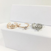 Ruifan Crown Rose Gold/White Gold Ring Set Cubic Zircon 925 Sterling Silver Engagement Wedding for Women 2019 New YRI043