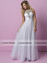 Elegante Abendkleider Weiß Chiffon A-Line 2015 Luxury Friesen Prom Kleider Sheer Neck Backless vestido de renda Modische