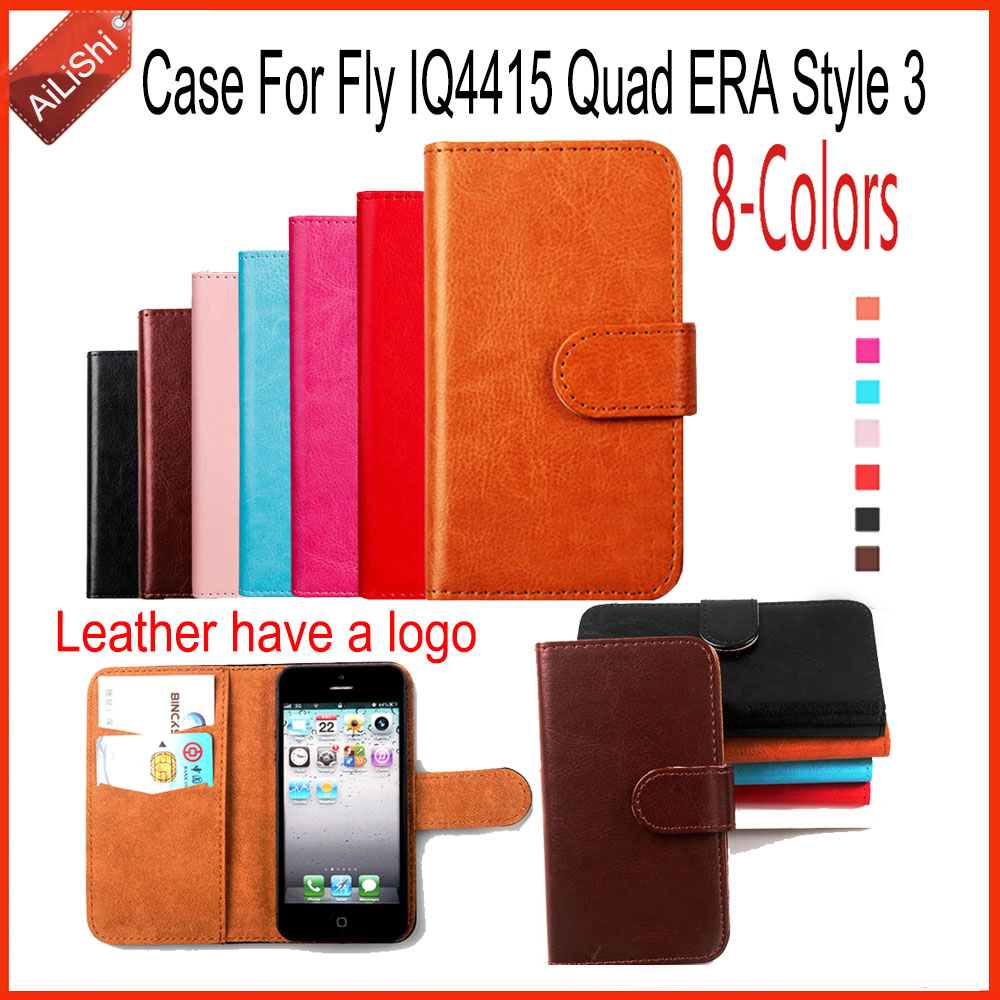 AiLiShi Hot Sale PU Leather Case Book Flip For Fly IQ4415 Quad ERA Style 3 Case Wallet Protective Cover Skin In Stock