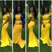 De moda amarillo brillante el hombro 2019 sirena vestidos De graduación Encaje Vintage Tribunal tren largo vestidos para la alfombra roja, Vestido De fiesta