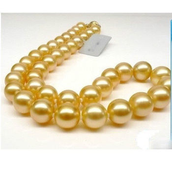 "GENUINE Huge 18"" Round 9-10mm AAA south sea golden pearls Necklace"