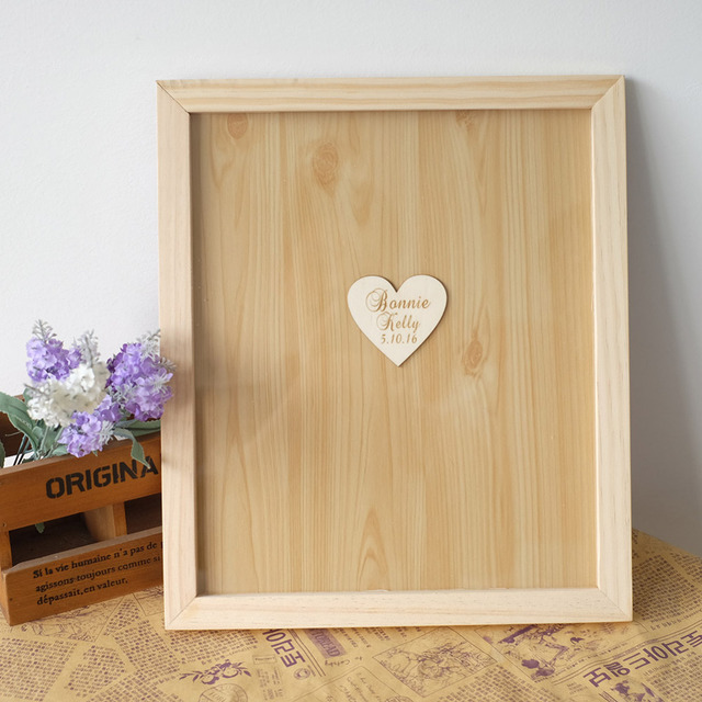 Personalized Wedding Guest Book Alternative Drop Top Guestbook Frame Custom Rustic Wooden Hearts Signature