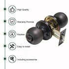 Probrico Door Knobs Interior Privacy Locksets Round Ball Keyless Door Lock Oil Rubbed Bronze DL607ORBBK Door Hardware