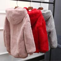 Korean version of the plush hooded head female loose long thickening imitation hawk rabbit fashion temperament fur coat