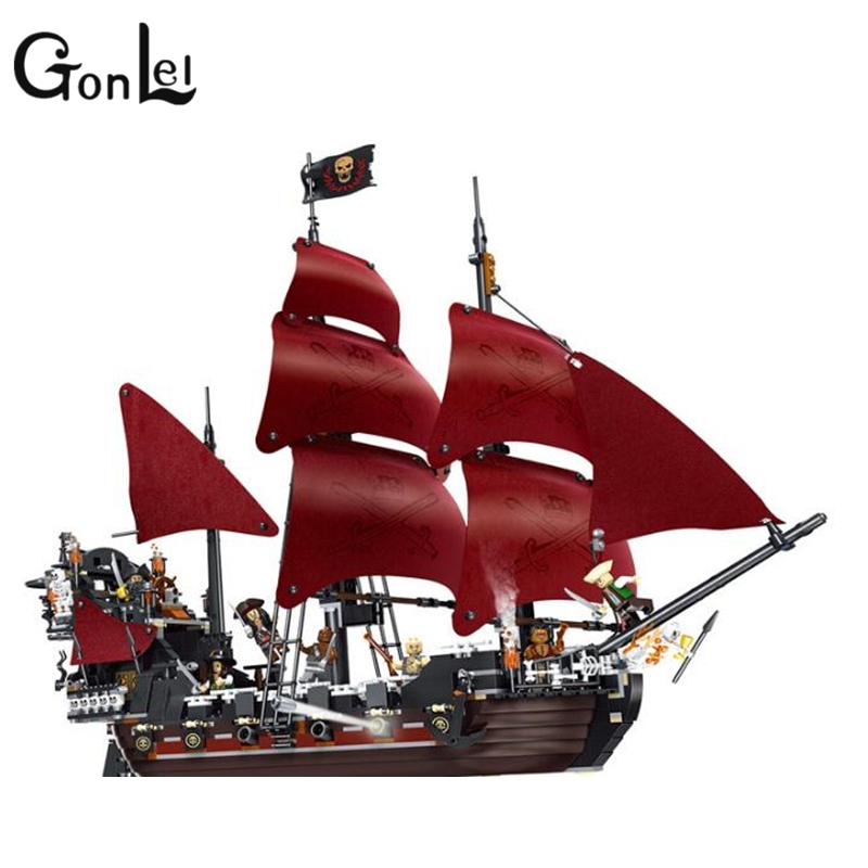 GonLeI 39008 Pirates series The Queen Annes Revenge model Building Blocks set Compatible legoings 4195 classic Pirate Ship Toys model building blocks toys 16009 1151pcs caribbean queen anne s reveage compatible with lego pirates series 4195 diy toys hobbie