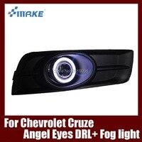 Fog Lamp Assembly LED Day Light COB Angel Eyes Foglight Daytime Running Light Lens Bumper For Chevrolet Cruze 2009 2014