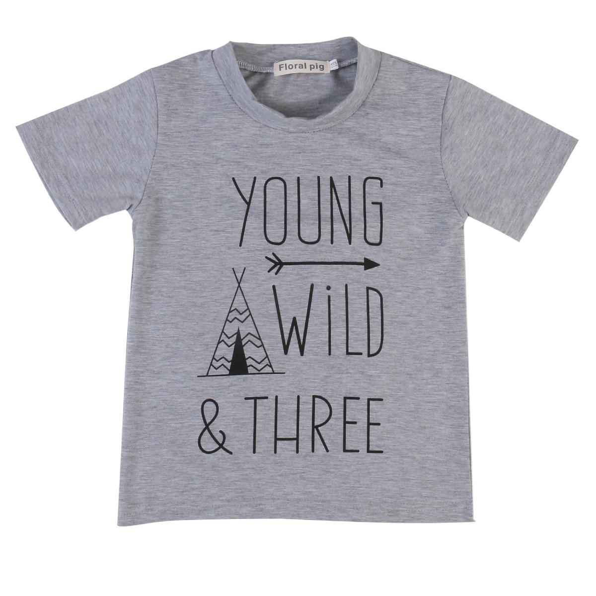 Oberteile Und T-shirts Nett Pudcoco Kinder Jungen T-shirts Grau Graphic Tees Buchstaben Jungen Wilden Drei Kinder Hoher Standard In QualitäT Und Hygiene T-shirts