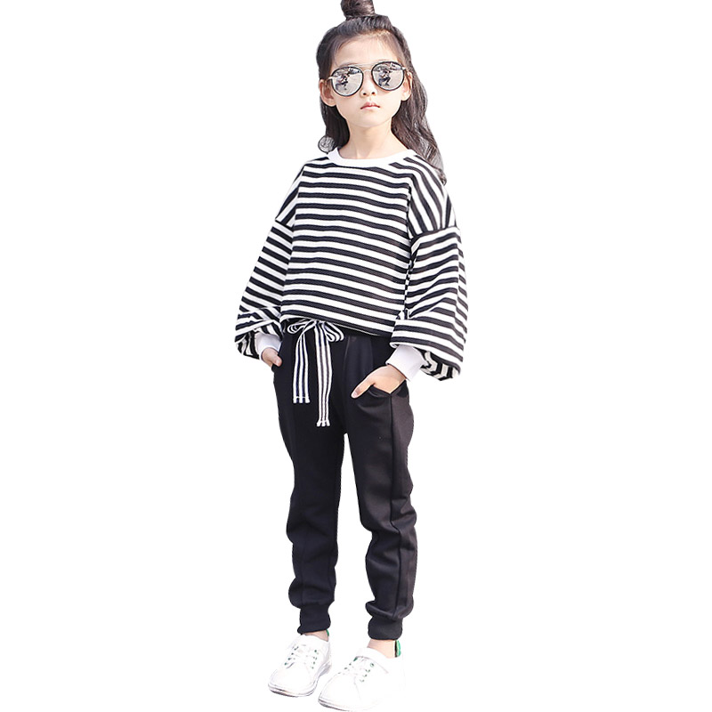 2018 New Baby Girls Spring Autumn Children's Clothing Set Striped Lantern Sleeve Pullover Top+Pant 2 Piece Sets Casual Suits new girls sets 2018 spring autumn baby
