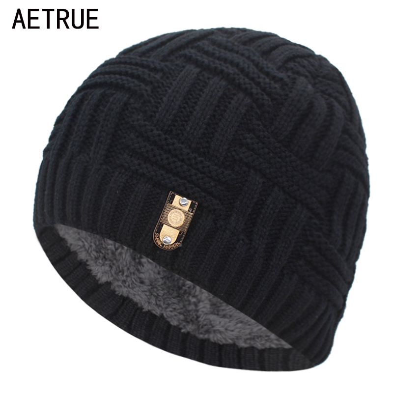 AETRUE Brand   Skullies   Beaines Knitted Hat Men Winter Hats For Women Men Fashion Bonnet Mask Warm Thick Fur Cap Male   Beanie   Hat