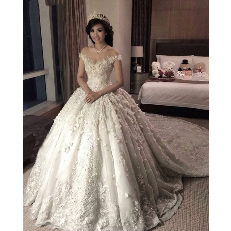 Luxury Handmade 2020 Flowers Ball Gown Wedding Dress Romantic Arabic Bridal Dress Robe De Mariage Mariee Princesa Wedding Dress