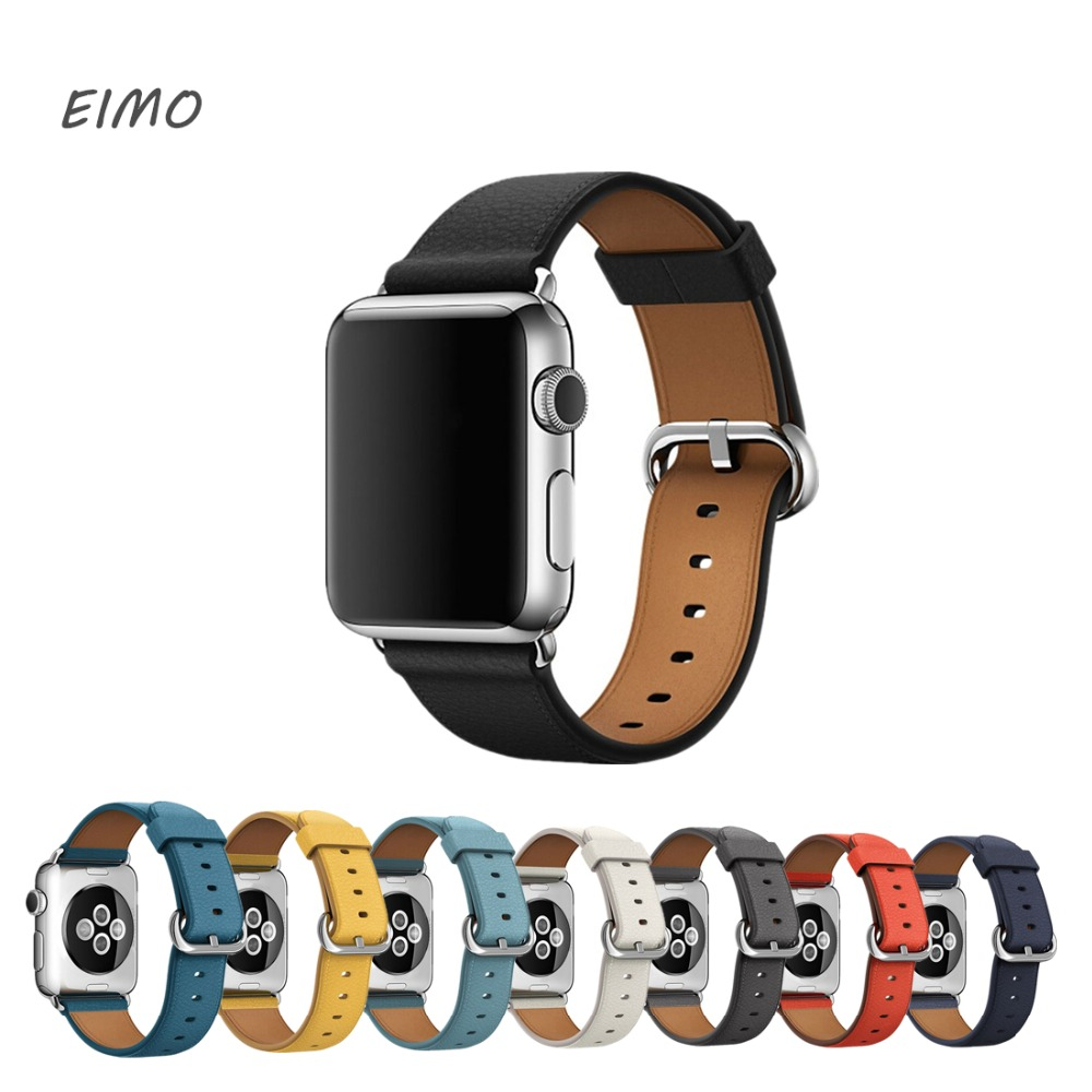 EIMO Leather Strap For Apple Watch Band 42mm 38mm Stainless Steel Clasp For Iwatch series 3/2/1 Wrist belt Bracelet Black Red nylon watch band 22mm for jacques lemans stainless steel pin clasp strap wrist loop belt bracelet black brown grey red purple
