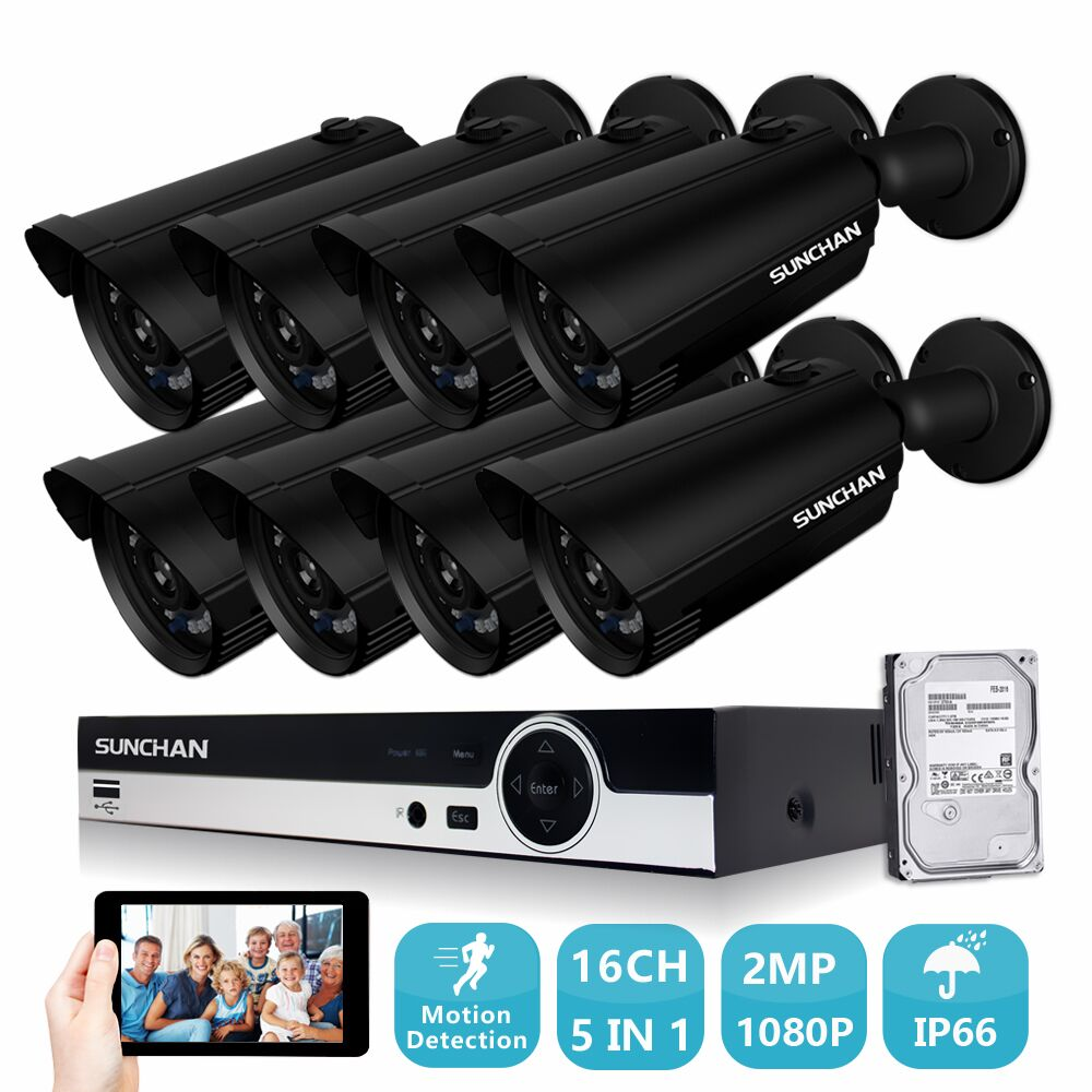 SUNCHAN 2.0MP охранных Камера Системы 2 мегапикселя Full HD 1080 P 16-канальный DVR w/жесткий диск 8 пуля Открытый Камера s DVR комплект ...