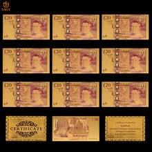 10 unids/lote Color oro británico de billetes Reino Unido 50 libras chapados en oro de papel dinero colección para la decoración de la casa