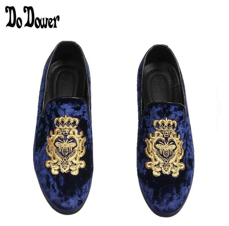 e5d30c91b80 Promotion New spring Men Velvet Loafers Party wedding Shoes Europe Style  Embroidered Blue Red Velvet Slippers
