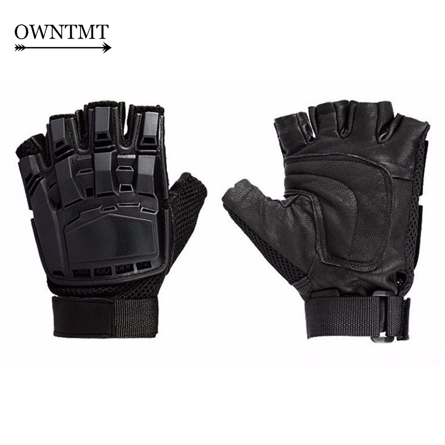 Black leather combat gloves - Outdoor Military Tactical Gloves Tortoise Shell Army Combat Assault Ride Motorcycle Hunting Glove Half Finger Leather