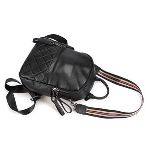 Image 5 - Zency 100% cuir véritable Vintage femmes sac à dos élégant noir quotidien vacances sac à dos décontracté voyage sacs fille cartable blanc