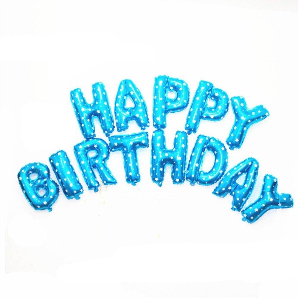 5*13 pièces Ballons Joyeux Anniversaire Lettre Ballons Gonflables D'hélium D'air Mylar Ballons Extérieur Décoration De Fête D'anniversaire