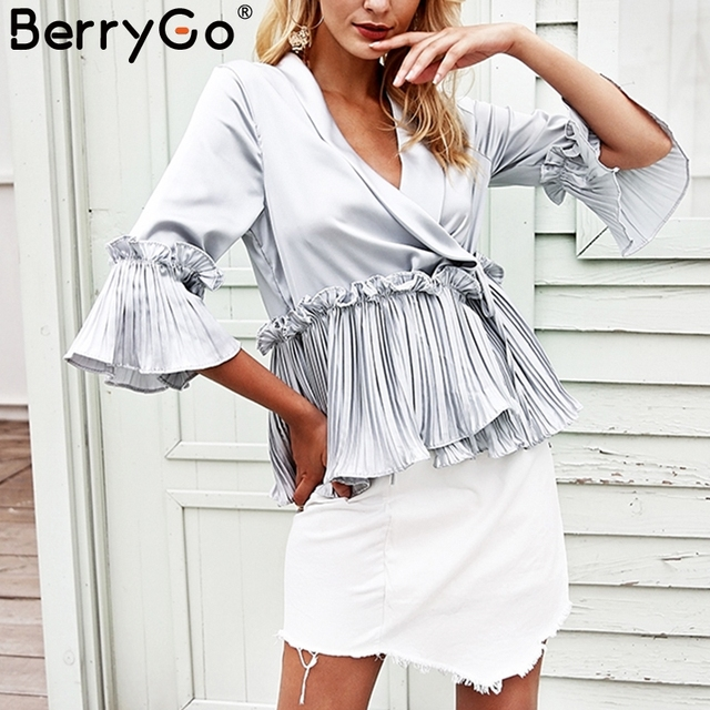 1e7ee0bdb8 BerryGo Plissada plissado peplum top verão feminino Cetim solta camisa blusa  manga longa mulheres V pescoço
