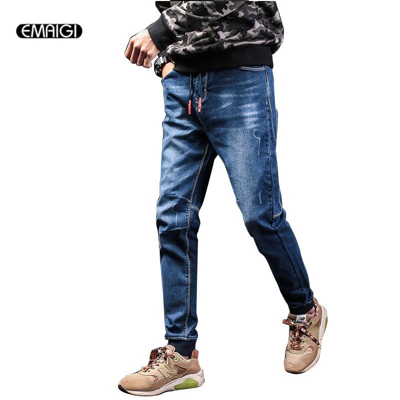 ФОТО Spring Autumn Men Elastic Waist Jeans Male Fashion Casual Denim Pant Street Fashion Hiphop Trousers Plus Size M-5XL