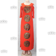 Hollow Out Shoulder Embroidery Long Dashiki Dress For Lady